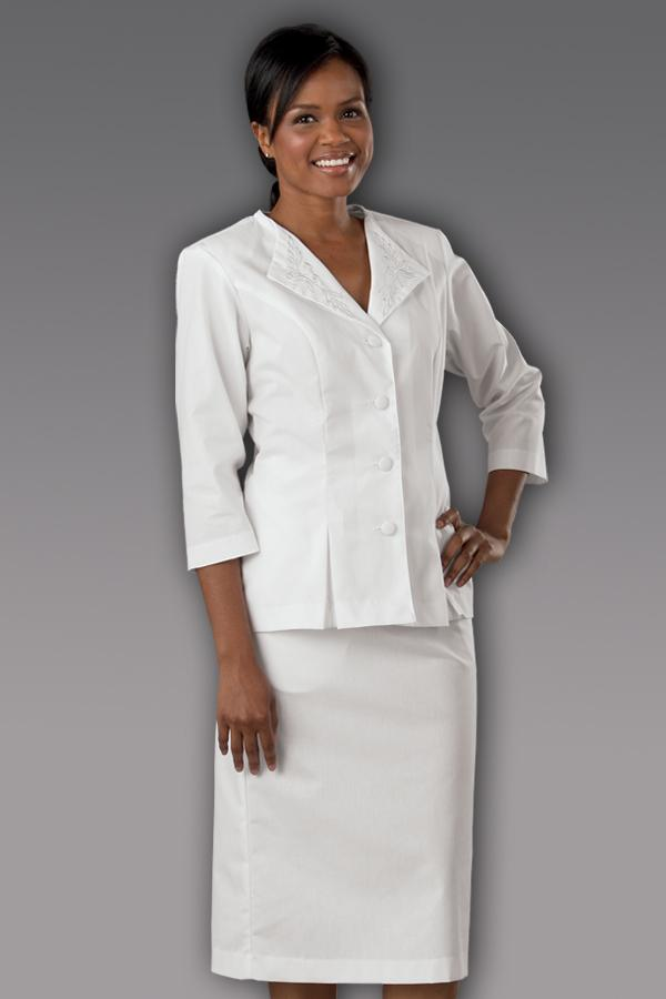 3/4 Slv Embroider Collar Suit