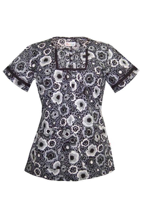 Crochet Safari Tropics Black Print scrub top