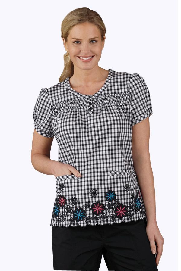 Heidi Check N Florals scrub top
