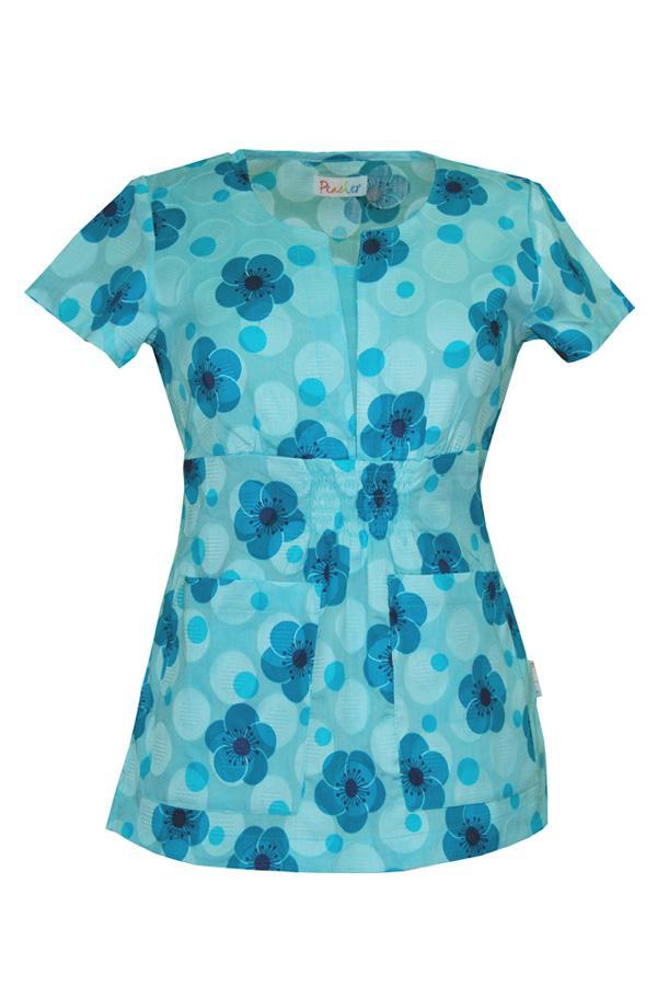 Chloe Pocket Full Of Posies Blue scrub top