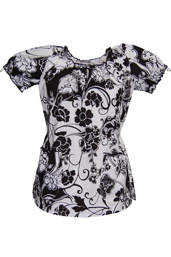 Caroline Print Black And White Couture scrub top
