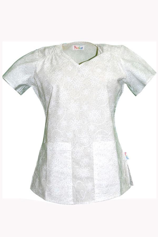 Liz Snowflake Burnout White scrub top