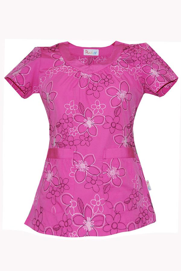 Sophie Black And White Blooms Ps Pink scrub top